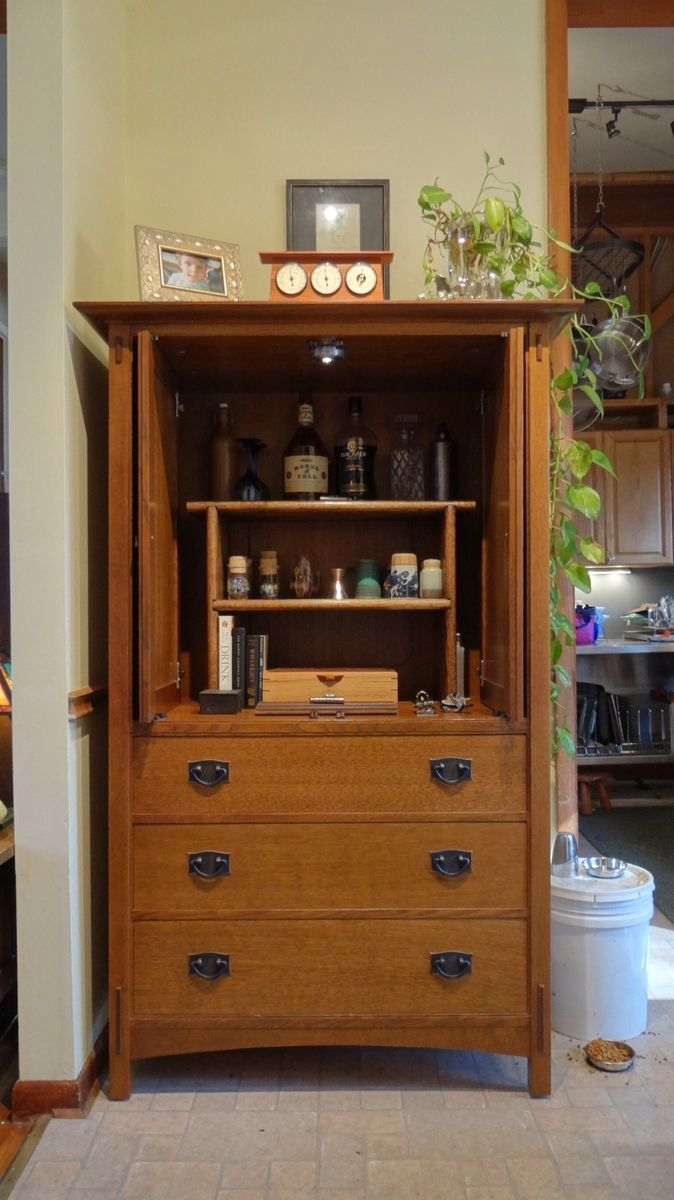 Handmade refitting of stickley crt television armoire into for Armoire tv
