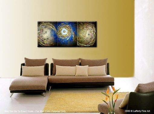 Custom Made Original Abstract Blue Gold Metallic Painting By Lafferty - 24 X 54 - One Day Sale Sale 22% Off