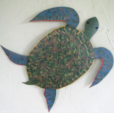 Custom Made Sea Turtle Art Sculpture Reclaimed Metal Ocean Decor Bathroom Wall Art Green Orange Yellow