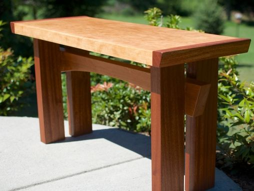 Custom Made Asian Inspired Maple, Mahogany Accents And Cherry Hardwood Slab Bench