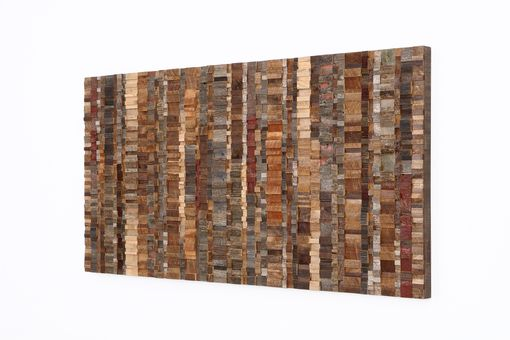 Custom Made Wavelength, Abstract Reclaimed Wood Wall Art, Large Wall Art