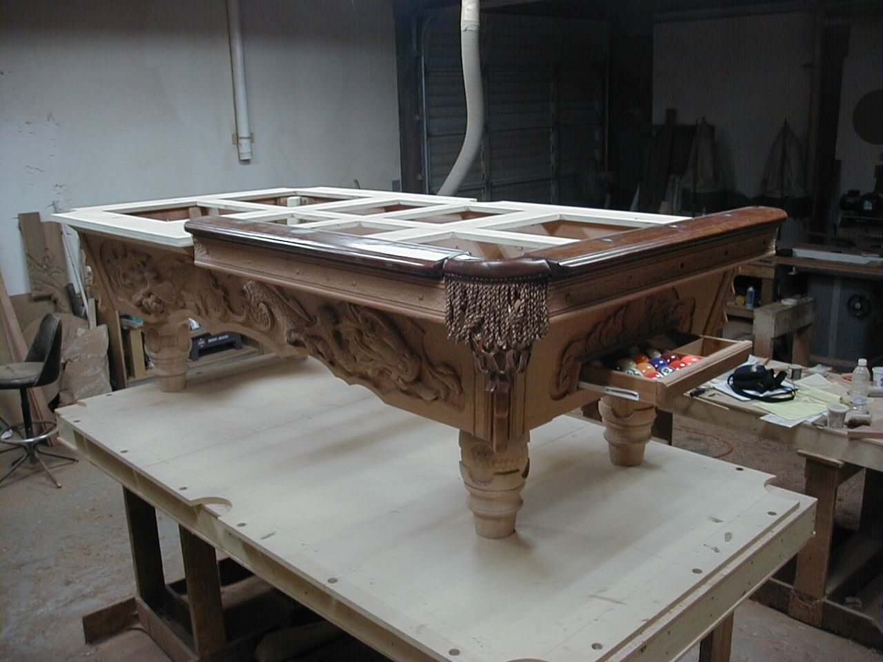 Hand Crafted Custom Hand Carved Pool Table Chinese Dragon Motif By - Chinese pool table