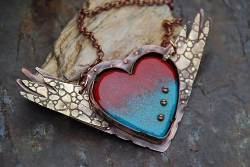 Custom Made Copper And Enamel Pendant/Necklace