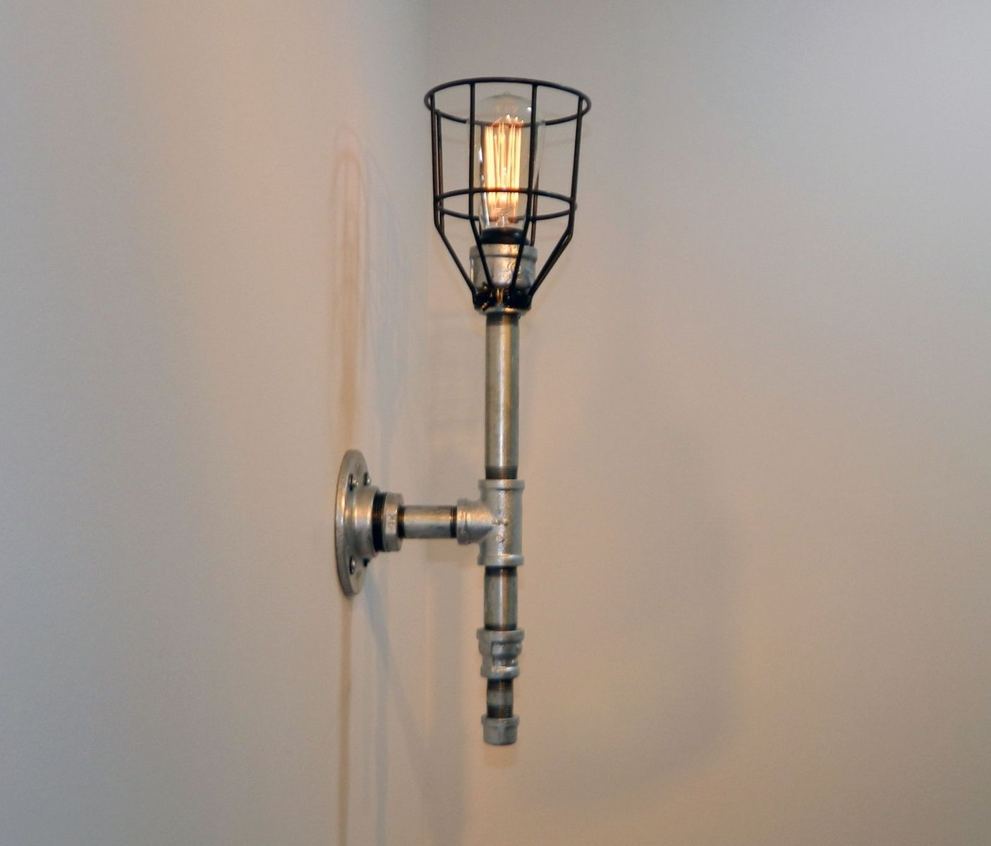 Industrial Iron Wall Sconces : Hand Made Wall Sconce: Galvanized Malleable Iron - Industrial Steampunk by Milton Douglas lamp ...