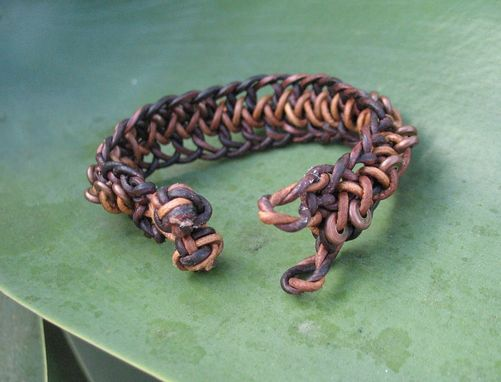 Custom Made Bracelet / Men's Bracelet:  Braided Brown Leather Cord With Copper Beads