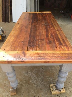 Custom Made 8 Foot Antique Heart Pine Farmhouse Table