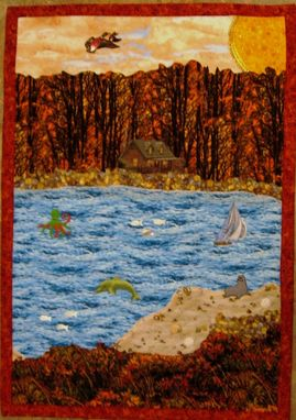 "Custom Made Quilted Landscape Wall Hanging - ""Autumn Morning"""