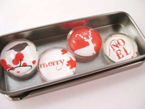 Custom Made Red And White Christmas Magnets In Set Of 4