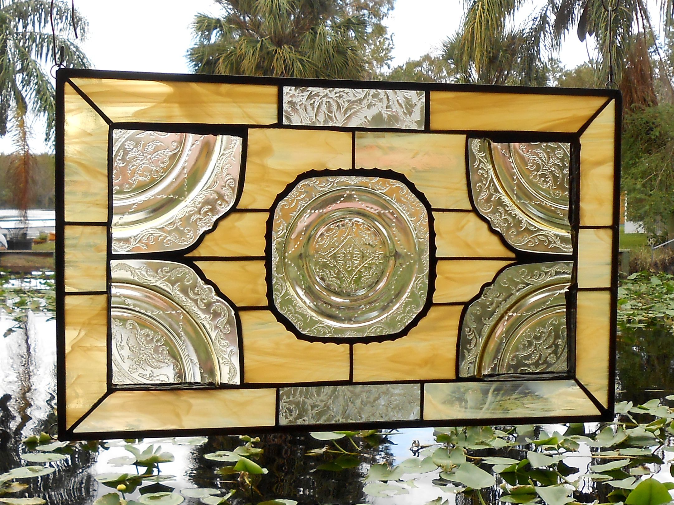 Custom Made Stained Gl Plate Panel 1930s Depression Madrid Window Treatment