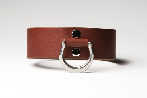 Custom Made Leather Bondage Collar - Chestnut Brown Latigo - Steel Lead Ring - Feather Motif