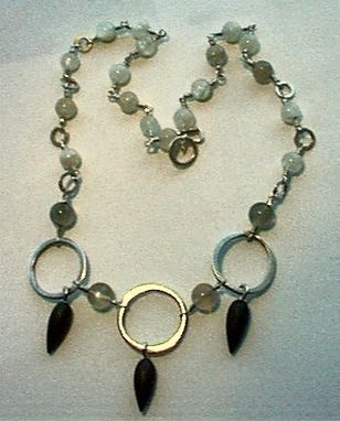 Custom Made Sterling, Moonstone And Matte Hematite Necklace