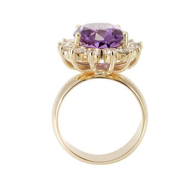 Custom Made Amethyst With Diamond Halo In 14k Yellow Ring, Engagement Ring, February Birthstone Ring