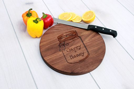 Custom Made Personalized Cutting Board, Engraved Cutting Board, Wedding Gift – Cbr-Wal-Gary Nancy Mason Jar