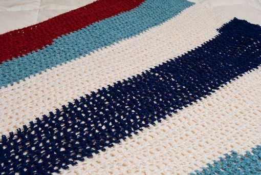 Custom Made Sea Blue, Navy, And Rust Bamboo Blanket