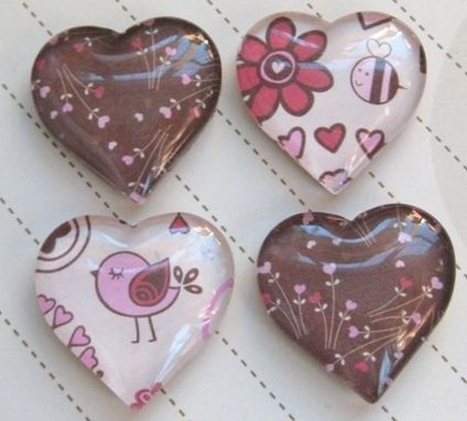 Custom Made Brown And Pink Glass Heart Magnets In Set Of 4
