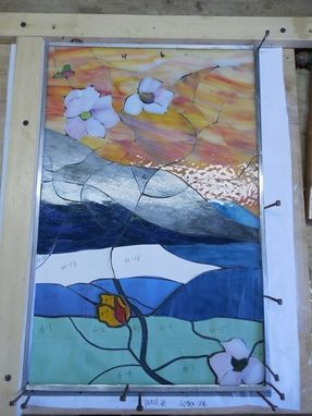 Custom Made Stained Glass Panels 4 Panels Dogwood And Branches