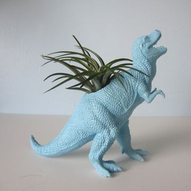 Custom Made Upcycled Dinosaur Planter - Blue Tyrannosaurus Rex With Air Plant