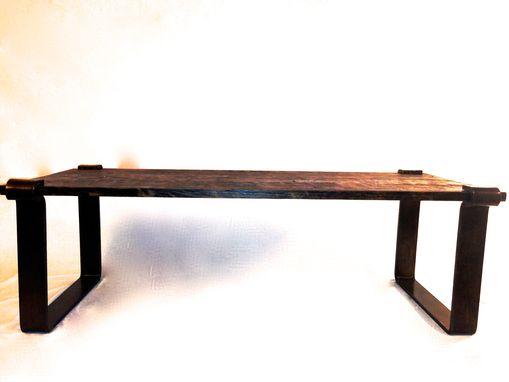 Custom Made Hand Made Rustic Walnut And Black Iron Coffee Table