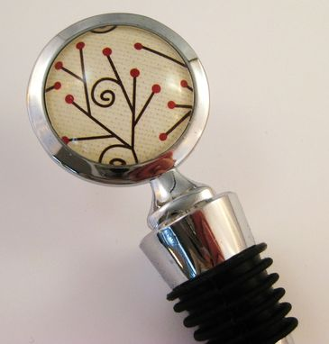Custom Made Wine Stopper With Holly Berries Design