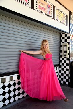 Custom Made Vintage 60s Formal Prom Party Dress In Hot Pink Silk Chiffon & Beaded Empire Waist And Straps