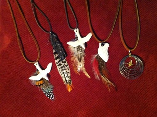 Custom Made Ceramic Wing, Bird And Feather Necklaces