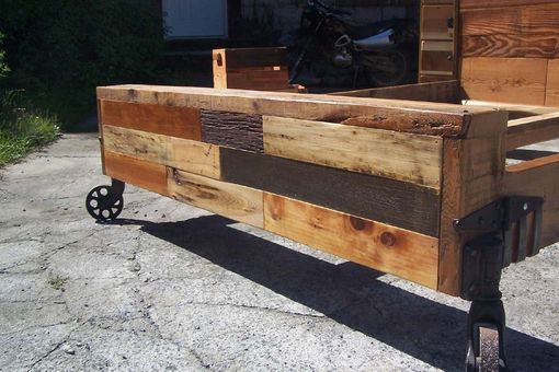 Custom Made Steampunk Bed From Reclaimed Wood And Vintage Iron Wheels