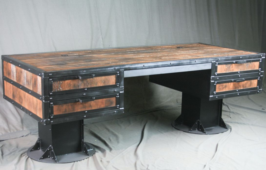 Custom Made Vintage Wooden Desk With Drawers Reclaimed Wood Urban Style
