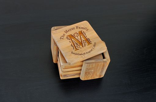 Custom Made Custom Bamboo Coasters, Custom Engraved Coasters --Cst-Bam-Meyer Family
