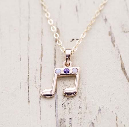 Custom necklaces design your own necklace custommade amys necklace this customer wanted to design a pendant to remind her of her boyfriend a musician and composer this 14k rose gold design features 2 round audiocablefo light catalogue