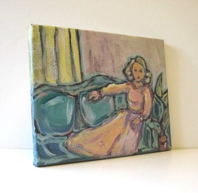 Custom Made Figure Painting Woman In Pink Portrait Painting Original Acrylic Painting Still Life