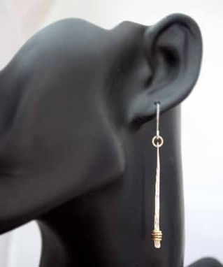 Custom Made Sterling Silver & Gold - Wrapped Stick Earrings - $48