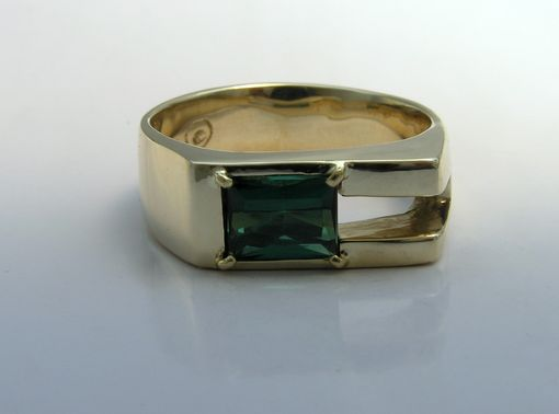 Custom Made Stunning Man's Ring - Blue Green Tourmaline In 14k Gold  - Unique Ring Design
