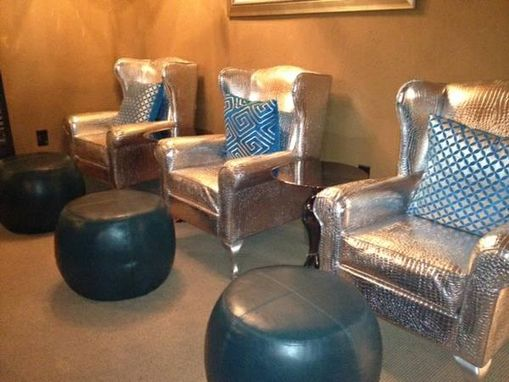 Custom Made Custom Faux Croc Wing Back Chairs
