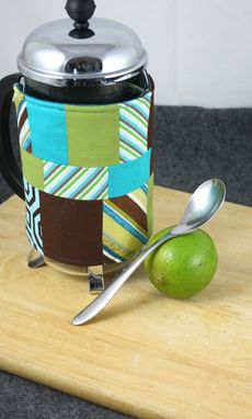 Custom Made French Press Coffee Cozy, Patchwork Fabric
