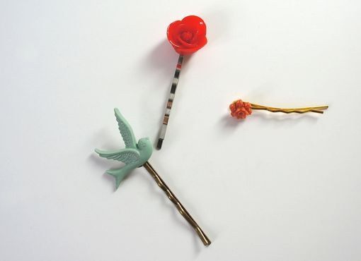 Custom Made Hairpin With Red Rose Cabochon