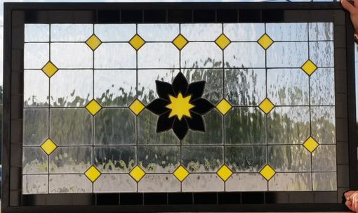 "Custom Made Stained Glass Window - ""Black & Yellow"" (Tw-41)"