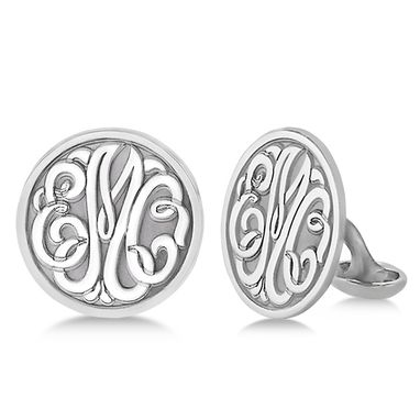 Custom Made Personalized Circle Monogram Initial Cuff Links In Sterling Silver