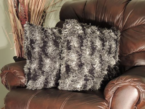 Custom Made African Mongolian Grey Black Faux Fur 18 X 18 In. Decorative Pillow - Set Of 2