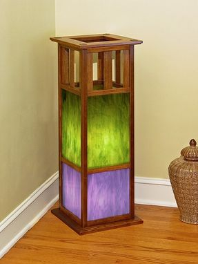 Custom Made Recycled Douglas Fir Stained Glass Floor Lamp