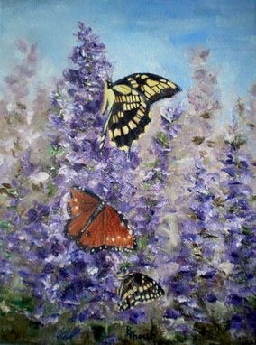 Custom Made Butterfly Garden Original 9x12 Oil Painting