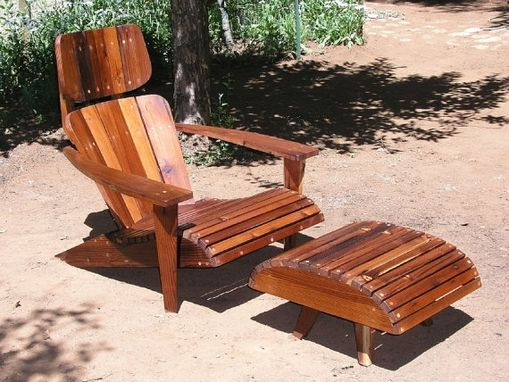 Custom Made Modern Adirondack Chair Lounger From Reclaimed Redwood.