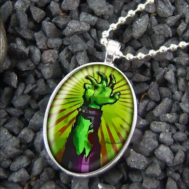 Custom Made Living Dead Zombie Halloween Sterling Silver Necklace 82-Son