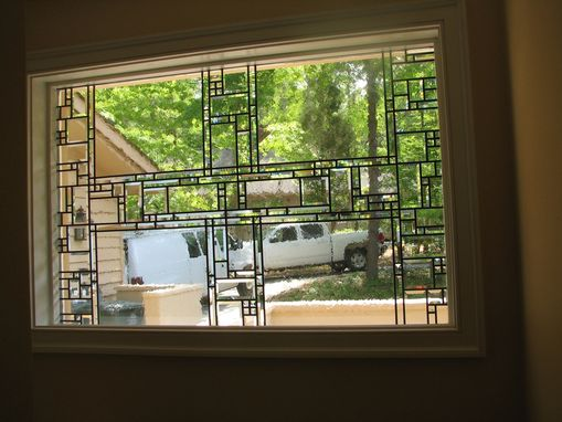 Custom Made Geometric Stained Glass Window - Beveled & Antique Glass