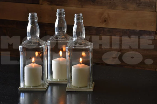Custom Made Whiskey Bottle Glass Hurricane Candle Centerpiece