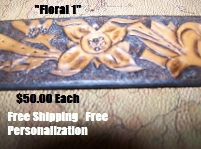 "Custom Made Hand Tooled Leather Belt. 1-1/4"" With ""Floral 1"" Design"