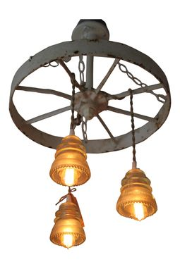 Custom Made Vintage White Barn Wheel Chandelier