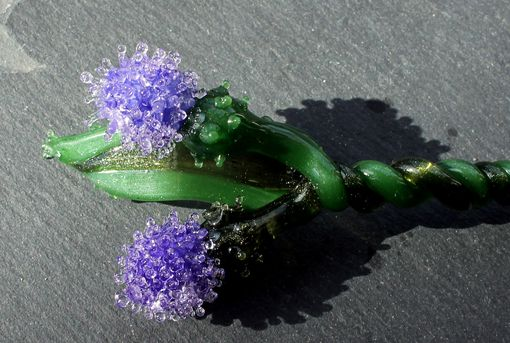 Custom Made Twisted Thistle Purple Glass Long Stem Flowers, Outlander Gift