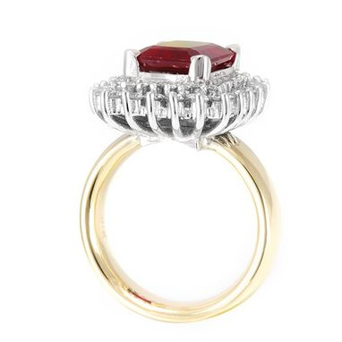 Custom Made Ruby In Diamond Halo Engagement Ring In 14k 2 Tone, July Birthstone Ring, Proposal Ring