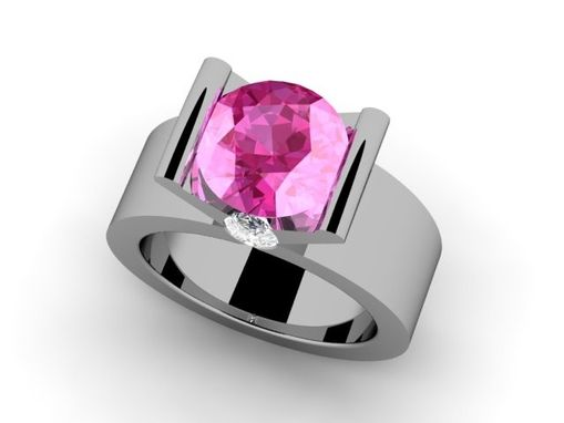 Custom Made Diamond And Pink Ring