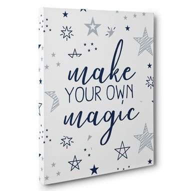 Custom Made Navy Blue Stars Make Your Own Magic Canvas Wall Art